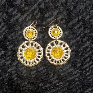 Jewelry - Stunning  gold and yellow fashion earrings